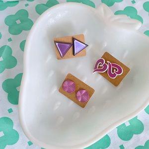 Purple post heart spiral triangle earring bundle